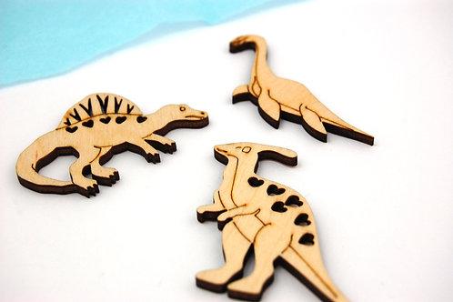 Dinosaur Wooden Shapes - 3 Dinosaurs