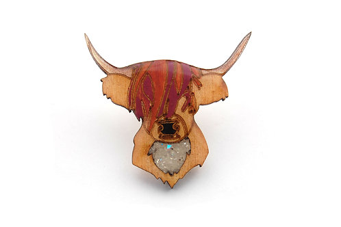 Highland Cattle Pin Badge