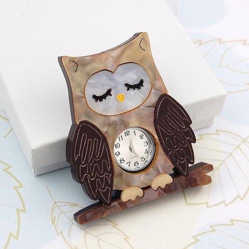 Sleepy Owl Clock Brooch