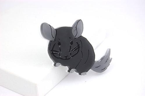 Black Velvet Acrylic Chinchilla Brooch