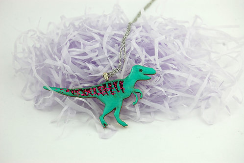 Velociraptor Necklace Large - Green & Pink