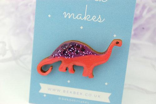 Diplodocus Pin Badge - Purple & Red