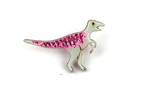 Velociraptor Pin Badge - Pastel Pink & Green