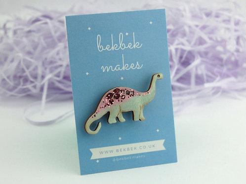 Diplodocus Pin Badge- Pastel Pink & Green