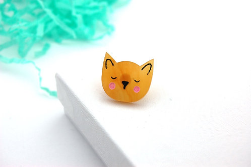Sleep Kitty Acrylic Pin Badge - Caramel