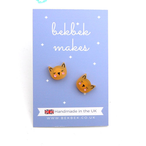 Little Kitty Cat Acrylic Earrings - Caramel