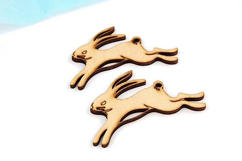 Running Hare Wooden Shapes (Brooch)