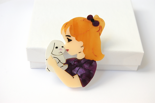 Girl and her Bunny Brooch