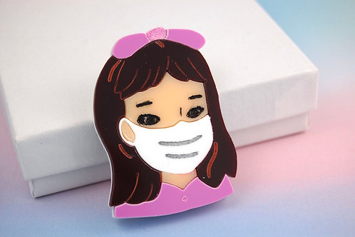 Little Girl wearing a Mask Pink Acrylic Brooch
