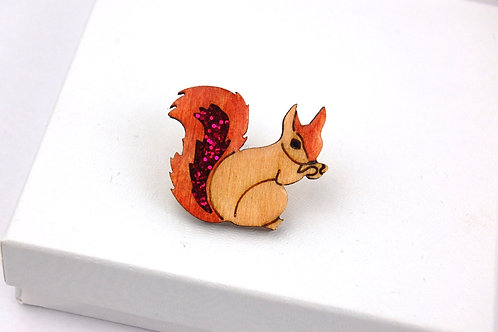 Red Squirrel with Pink Tail Pin Badge