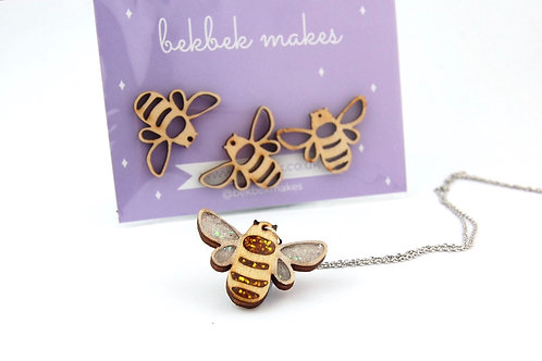 Bee Wooden Shapes (Necklace)