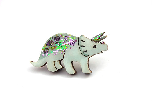 Triceratops Pin Badge (Green)