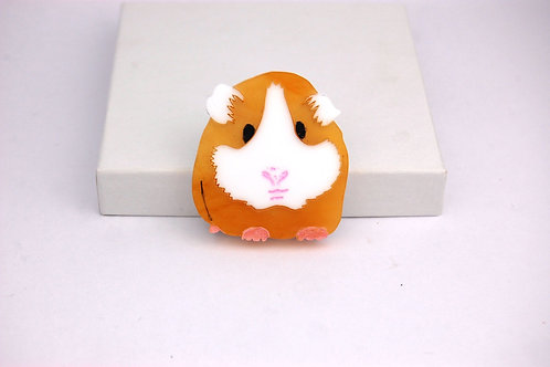Ginger guinea Pig Acrylic Brooch