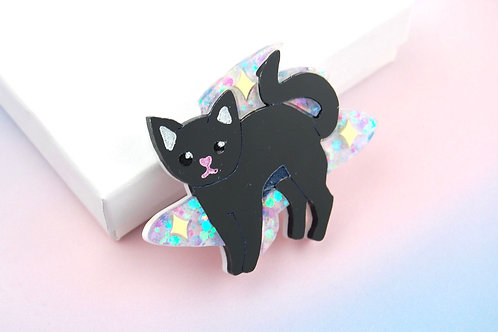 Glitter Magical Kitty Blue (Brooch/Necklace)