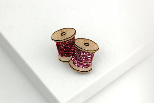 Double Cotton Reel Pin Badge Pink & Red