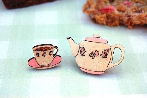 Tea Cup and Tea Pot Pin Badge Set