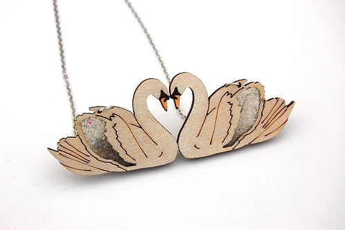 Kissing Swan Statement Necklace