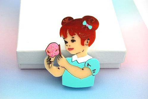 Little Girl with an Ice Cream Acrylic Brooch