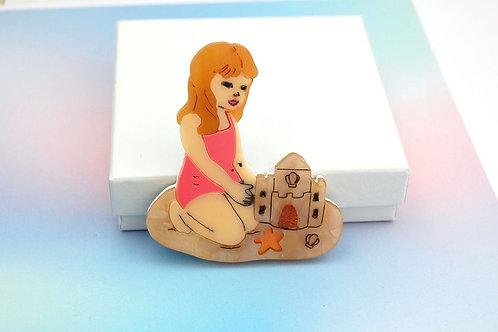 Little Girl building a Sandcastle Acrylic Brooch
