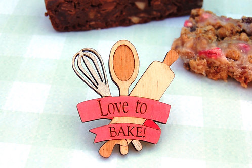 Love to Bake! Cooking utensils brooch