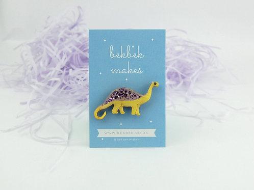 Diplodocus Pin Badge - Glittery Purple & Yellow
