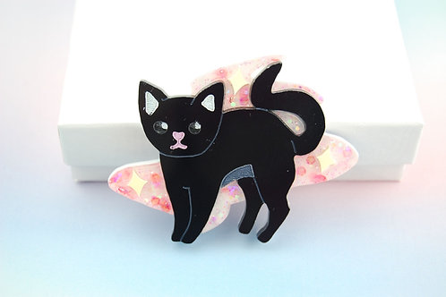 Glitter Magical Kitty Pink (Brooch/Necklace)