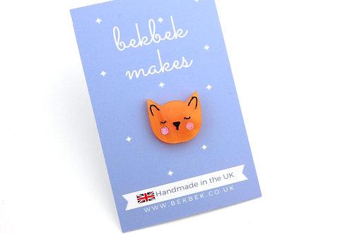 Sleep Kitty Acrylic Pin Badge - Ginger