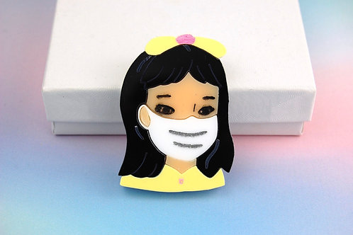 Little Girl wearing a Mask Yellow Acrylic Brooch