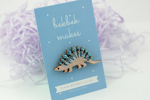 Stegosaurus Pin Badge - Pastel Purple & Blue