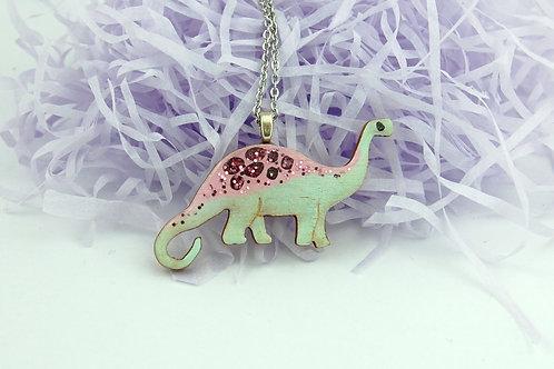 Diplodocus Necklace Large - Pastel Pink & Green