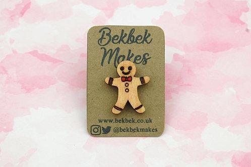 Gingerbread Man Pin Badge