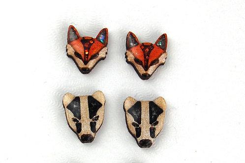 Animal Face Earrings - Badger or Fox
