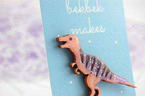 Tyrannosaurus Rex Pin Badge - Glittery Purple & Pink