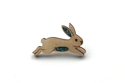 Bunny Rabbit Pin Badge - Emerald Green