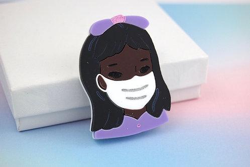 Little Girl wearing a Mask Purple Acrylic Brooch