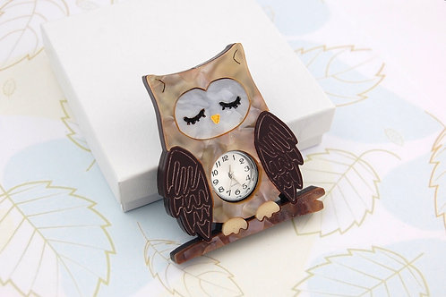 Sleepy Owl Brooch with Clock