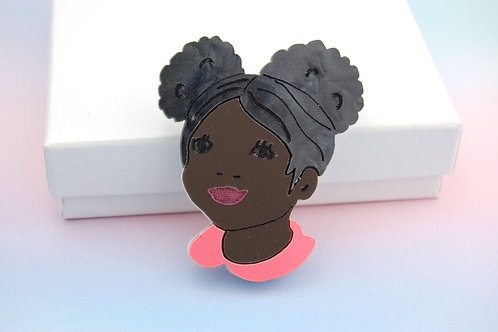 Little Girl with Bunches Acrylic Brooch