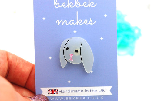 Little Bunny Acrylic Pin Badge - Iridescent White