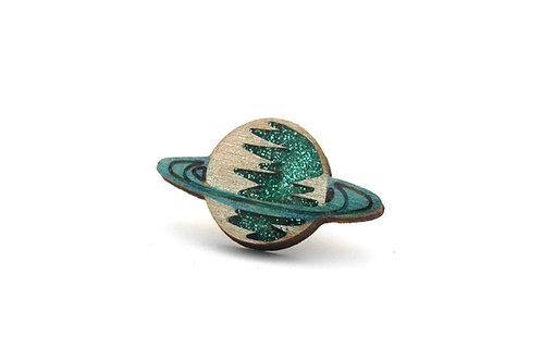 Saturn Pin Badge Green