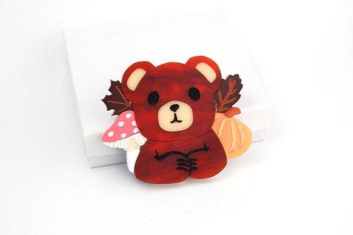 Autumn Bear Acrylic Brooch