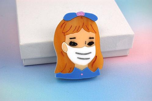 Little Girl wearing a Mask Blue Acrylic Brooch