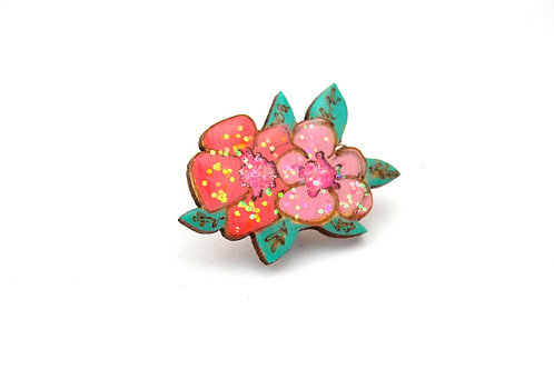 Pink and Red Flower Pin Badge