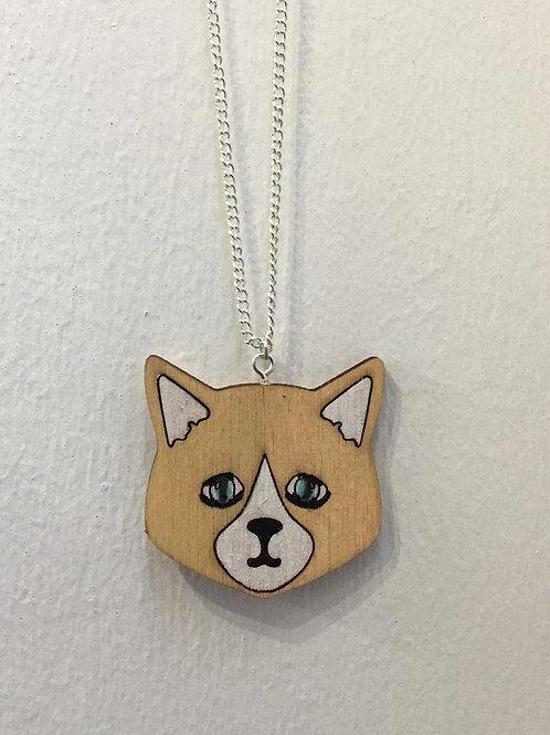 Sad Face Ginger Cat Necklace