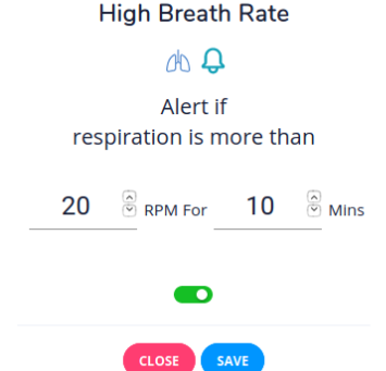 Breathing rate alerts