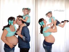 Gestante, pai (marido) e filha criança