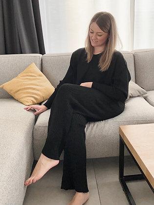 Comfy broek set rib zwart