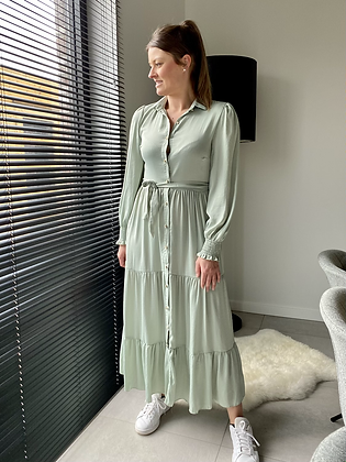 Lange jurk zachtgroen