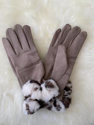 Handschoenen pels beige