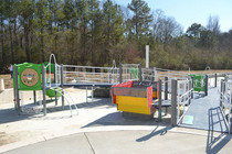 View from the top of the park. The Ramp to the right slopes down into the heart of the playground.