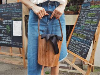 リボン付き筒型カゴバッグ